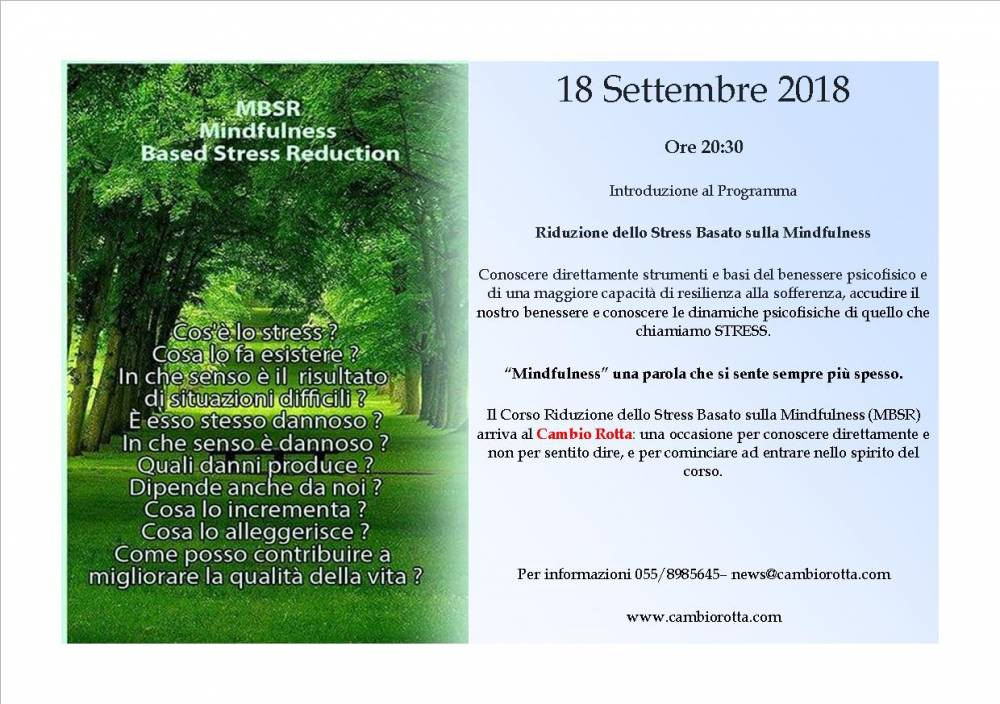 Presentazione Corso MINDFULNESS BASED STRESS REDUCTION